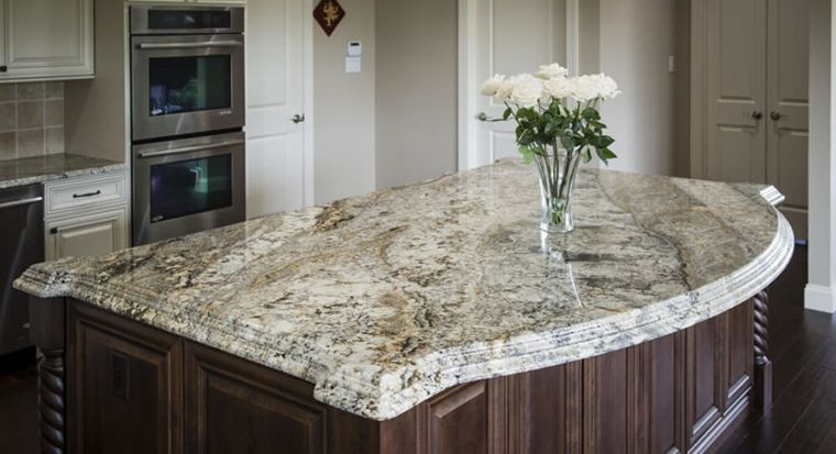 speckled gray granite countertop or slab